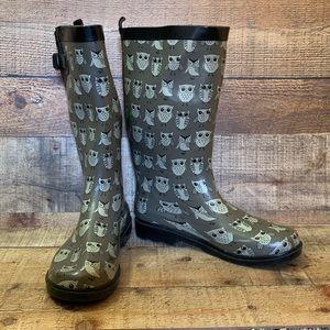 Capelli gray owl rain boots Size 10